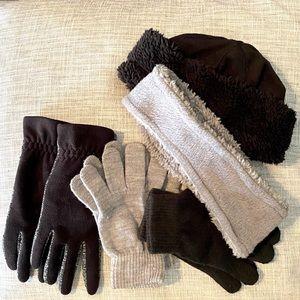 ALL 5 Pieces! Womens Gloves Headband Beanie Hat